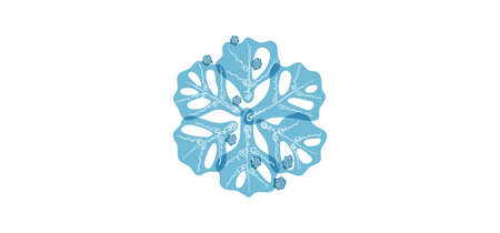 Blue shaded snowflake with transparent elements isolated on white background. Holiday and winter symbol.