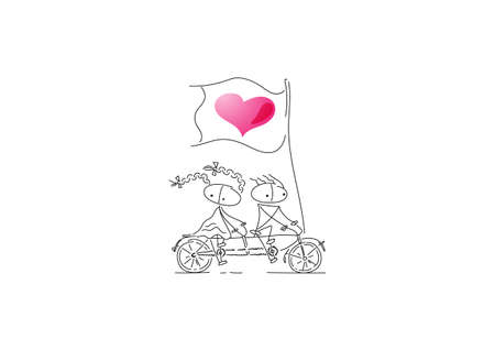 A guy and a girl on a tandem bike ride to meet their love and adventure. Flag with the image of heart. Characters are created in linear style with black line. Combined with brightly colored elements