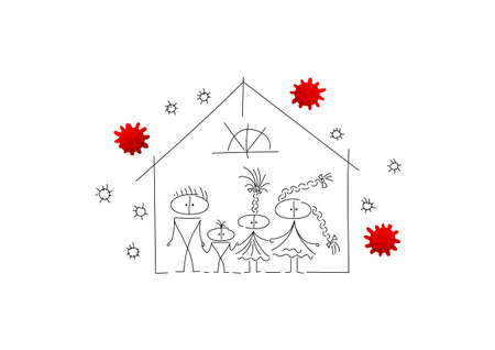 The family remains at home during the quarantine period. virus bacteria are flying around house. Characters are created in linear style with a black line. Combined with brightly colored elements Vecteurs