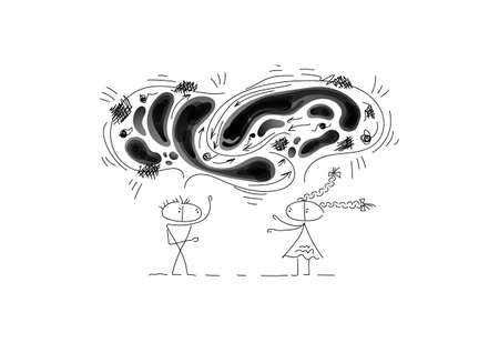 The guy and the girl sort things out. Black clouds with negative emotions are intertwined above them. Characters are created in a linear style with black line. Combined with brightly colored elements