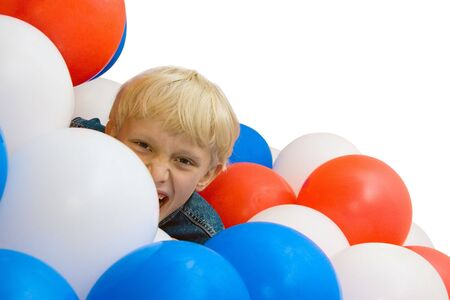 the shouting boy with balloons on white background