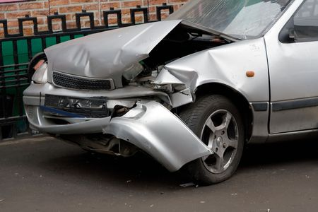 total loss: The Wrecked Car. Front of damaged auto. Stock Photo
