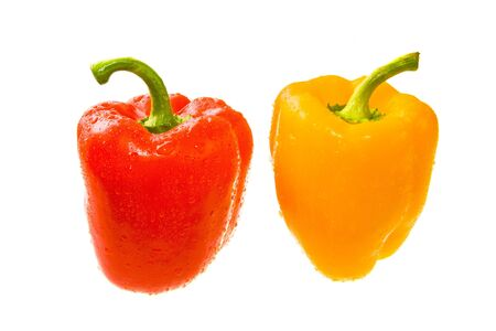 Red and Yellow Peppers the Covered Drops of Water. Isolated On White. Close-up photo