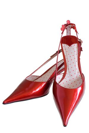 Red patent-leather shoes on a white background Stock Photo