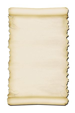 Ancient scroll with torn edges photo