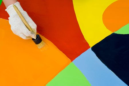 paintbucket: Colorful paint with a paintbrush