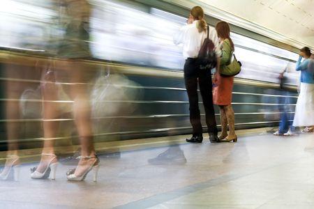 Subway. Underground station, motion blur Stock Photo