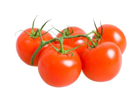 Bunch of fresh tomatoes isolated on white background
