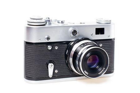 rangefinder: Old styled vintage mechanical 35mm film camera on white background
