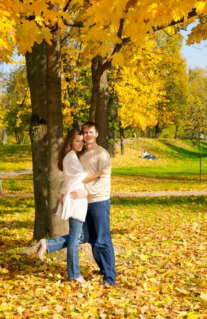 Happy young couple in love meeting in the autumn park Stock Photo - 3756655