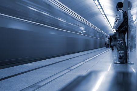 Subway. Underground station, motion blur. Tint blue Stock Photo - 3817581