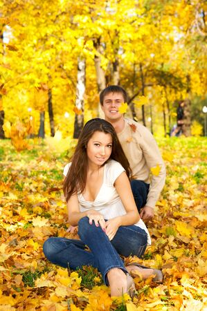 Happy young couple in love meeting in the autumn park Stock Photo - 4157565