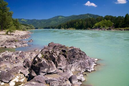 Katun river and mountains. Altay. Russia Stock Photo - 4264628