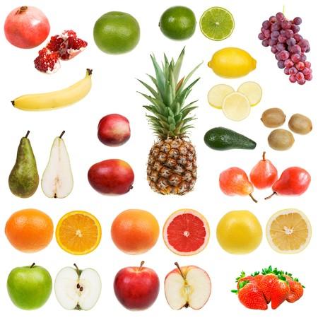 Set of fruits isolated on white background Stock Photo