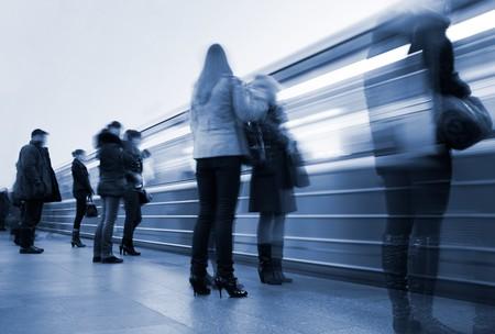 Subway. Underground station, motion blur. Tint blue Stock Photo