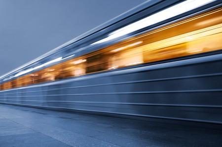 Subway. Underground train, motion blur Stock Photo