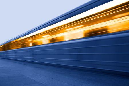 Subway. Underground station. Moving train photo