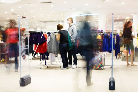 Shoppers at shopping center, motion blur Stock Photo - 5067773