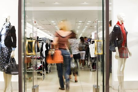 Shoppers at shopping center, motion blur Stock Photo - 5067770