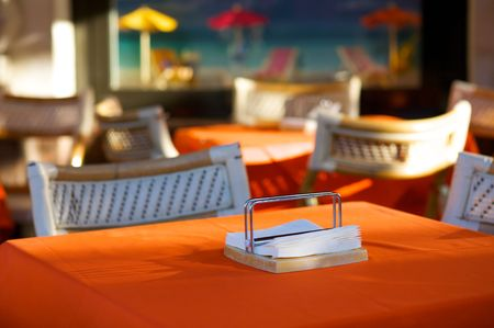 Empty table in open-air cafe. Selective focus Stock Photo - 5095045