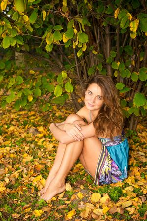 Young beautiful woman sitting in the autumn forest Stock Photo - 6368195