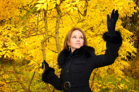 Young beautiful woman in a black coat in the autumn forest Stock Photo - 6941390