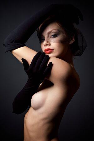 Beautiful redhead woman portrait, studio shot Stock Photo