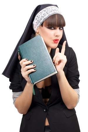Portrait of attractive young nun. Isolated over white background Stock Photo - 6943431