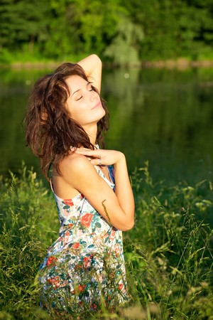 Young sexy woman posing outdoors Stock Photo - 7274572