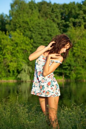 Young sexy woman posing outdoors Stock Photo - 7274571