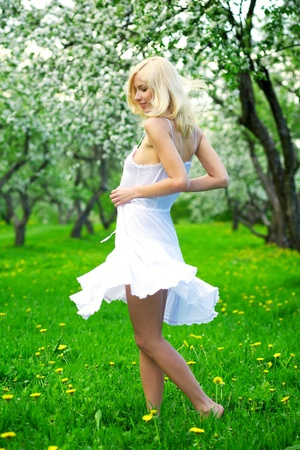 Young beautiful woman in a white dress in blooming gardens photo