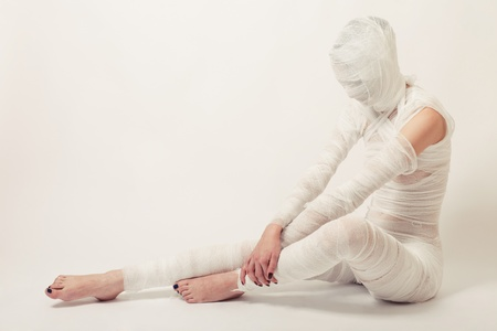 Young beautiful woman with bandage Stock Photo