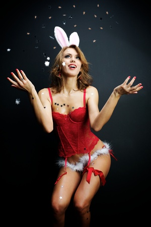 Sexy bunny girl with confetti Stock Photo