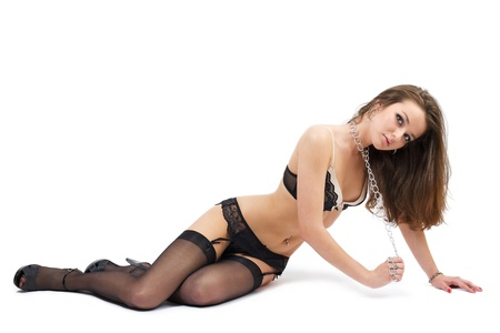 bondage girl: Young beautiful woman playing in slave, isolated on white Stock Photo