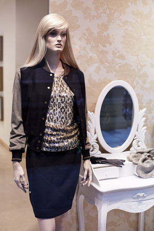 ショッピングモールの女性カジュアル衣料品店の店の窓の表示に立っているマネキン 写真素材 - 109555297