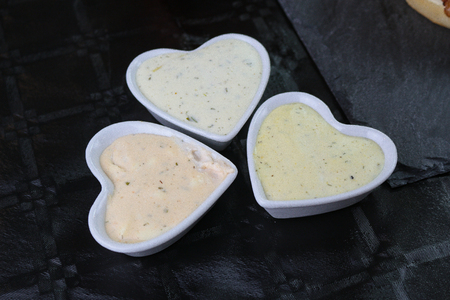 Heart-shaped sauce on the table