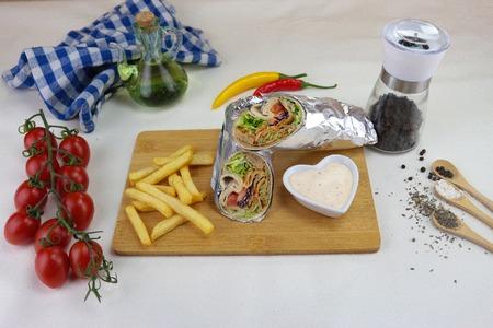 turkish kebab product on table Stock Photo
