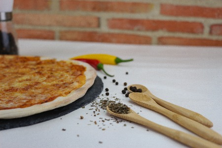 fresh pizza product on table