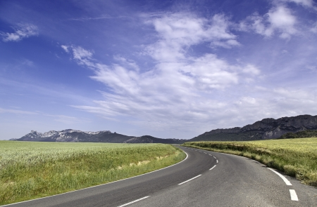Landscape with road curve Stock Photo
