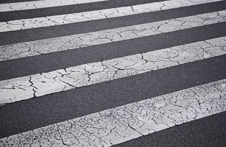 Crosswalk, detail of asphalt painted lines, pedestrian Stock Photo - 16385042