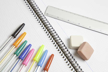Pens with rubber and ruler, material retail, school, learning purposes Stock Photo - 17747127