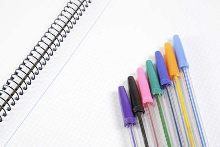 Colored pens on notebook, detail of school, education Stock Photo - 17746761