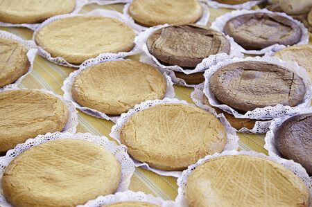 bake sale: Apple pies and chocolate, detail of homemade desserts, traditional food, diet