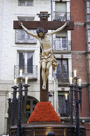 sacrificed: Christ on the cross, detail of sculpture of Jesus Christ, the Easter tradition in Spain, belief and faith