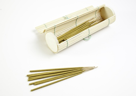Incense sticks and bamboo, terapie detail in a spa, relaxation and aromatherapy