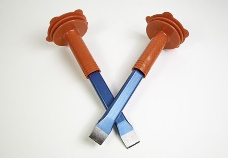 Two chisels, detail of a couple of construction tools, object background to work photo