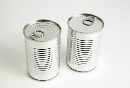 food preservation: Two cans closed, detail of a closed canning, food preparation, food preservation, metal Stock Photo