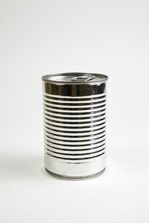 conservacion alimentos: Poder del metal, detalle de una lata de comida cerrado, la conservaci�n de alimentos Foto de archivo