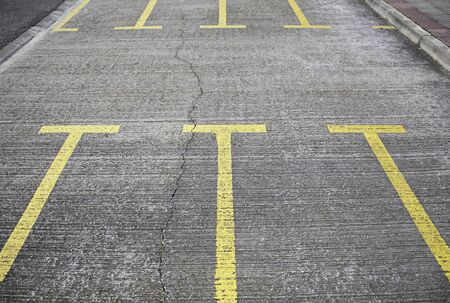 Parking in the city, detail of a car park in the city, markings painted on the street photo