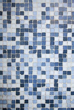 slurry: Blue Mosaic, detail of a wall decorated with blue tiles, textured background, modern Stock Photo